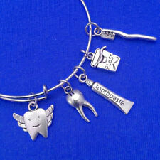 Dental Expendable Bangle Bracelet Tooth Paste Floss Silver Charms Dentist Gift