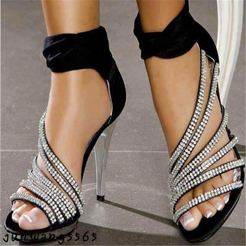 Neue Damen Schuhe Sandale Rhinestone Fesselriemen Hocherabsatz Reißverschluß
