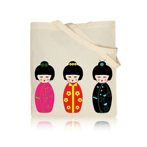 Carino-bambole-Kokeshi-100-cotone-naturale-spalla-Tote-Shopping-BOOK-Borsa-palestra