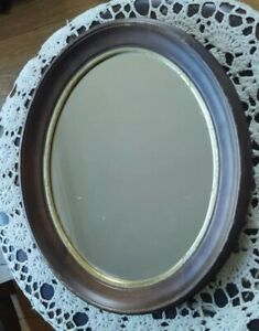 """Antique Victorian Mogagney Wall Hanging Wood Mirror Raised 11"""" by 9"""" 1800"""