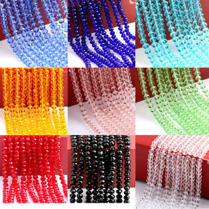 4-10MM-Rondelle-Faceted-Crystal-Glass-Loose-Spacer-Beads-Jewelry-Makings-Craft