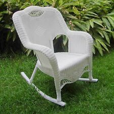 International Caravan Maui Resin Wicker Outdoor Rocking Chair White