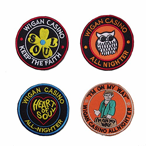 Set of 4 Wigan Casino Emboidered Patches, Multicoloured, 75mm