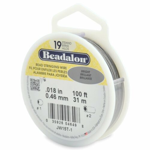 Beadalon Bright .018 Bead Stringing Wire 19 Strand Flex Wire - 100ft