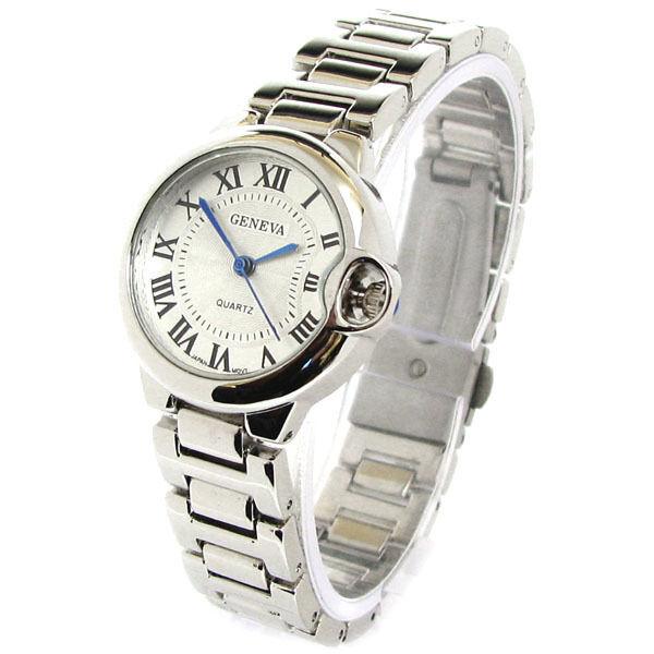 Silver Geneva Small Case Classic Roman Dial Women's Quartz Bracelet Watch