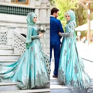 Saudi Arabic Mint Sage Muslim Prom Dresses Long Sleeves Appliqued ...