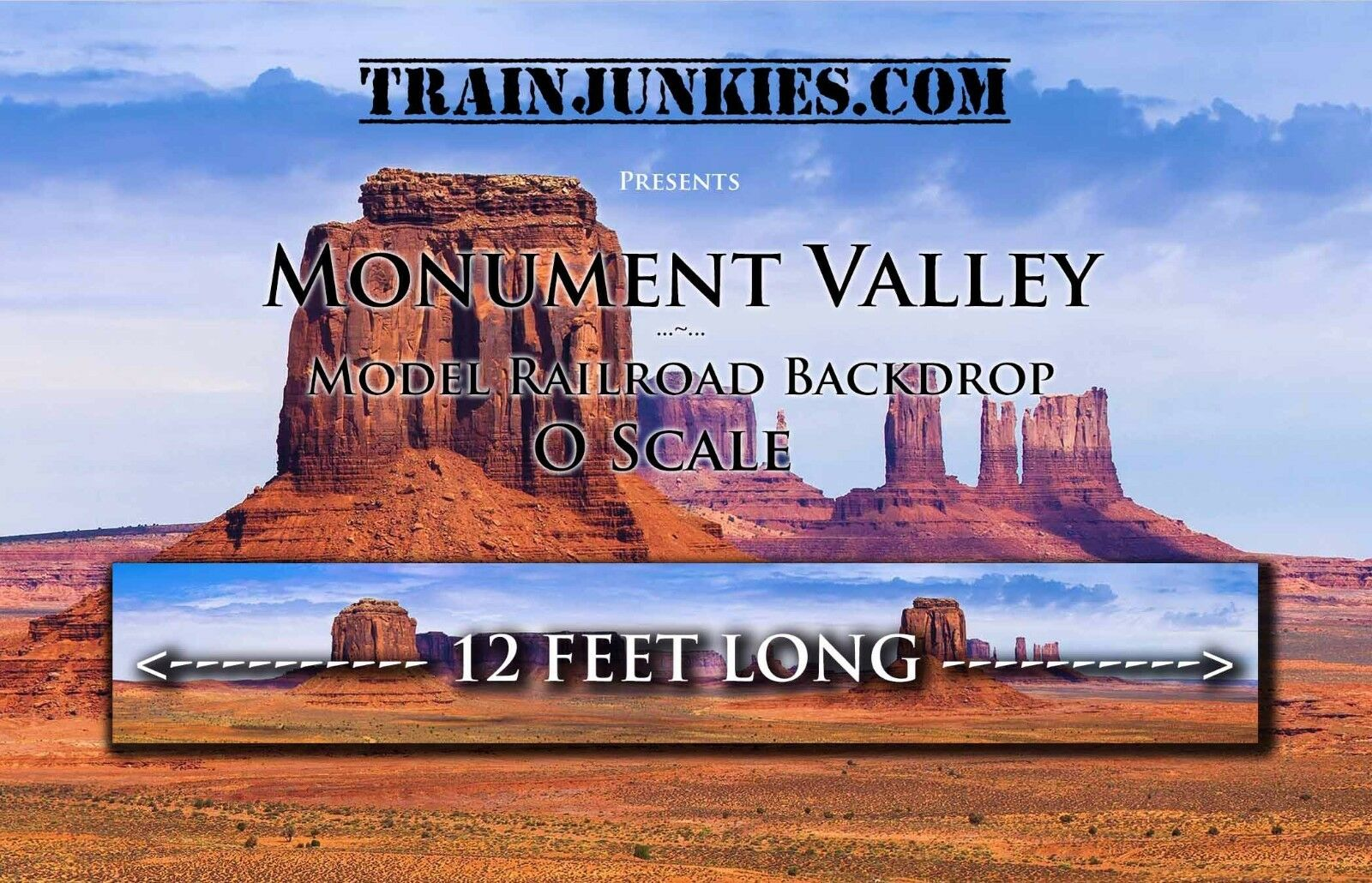 Train Junkies O Scale  Monument Valley  Modelll Railroad Backdrop 24x144