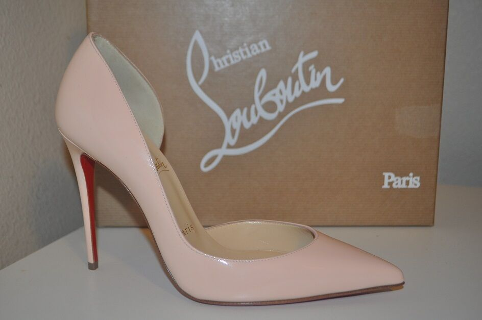 NIB Christian Louboutin IRIZA Pointy Toe d'Orsay 100 Pump shoes Patent POUDRE 7.5