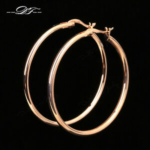 Anti Allergy Big Hoop Earrings 18K Rose Gold Plated ...
