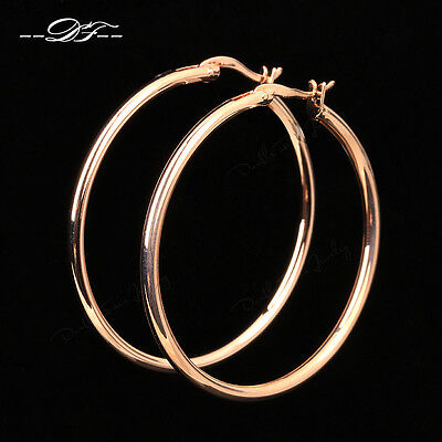 Anti Allergy Big Hoop Earrings 18K Rose Gold Plated Fashion Jewelry For Women