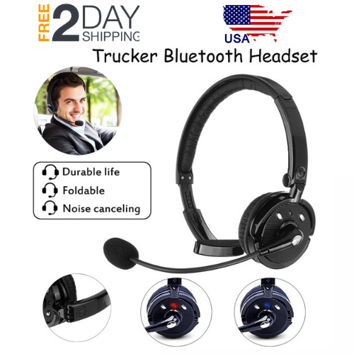Noise-Cancelling-Wireless-Bluetooth-Headset-Over-the-Head-Boom-w-Mic-For-Trucker