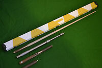 Handmade 3/4 Jointed Ash Snooker / Pool Cue + Yellow /white Case + Extension Set