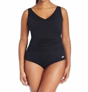 Speedo-Womens-Swimwear-Black-Size-22-Plus-Shirred-Contourback-Swimsuit-88-520