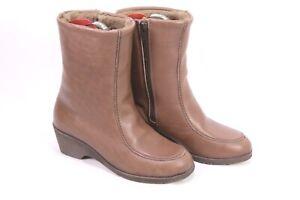 C242-Damen-Lammfellstiefel-Boots-Leder-braun-Gr-37-5-Stiefeletten-ungetragen