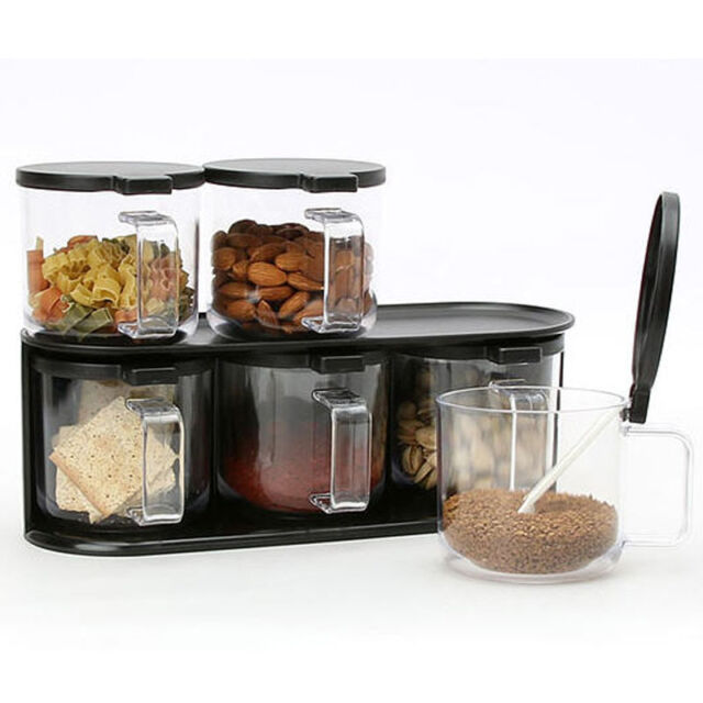 6 Set Handle Jar Food Spice Canisters Kitchen Storage Container Rack