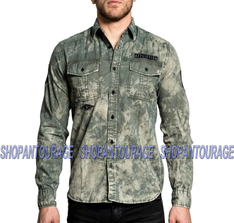 Affliction Revive 110wv718 Men`s Long Sleeve Embroidered Button-down Shirt