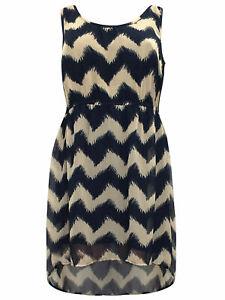 Kleid-Gr-50-Knielang-Sommerkleid-Blau-festlich-Chiffonkleid-Abendkleid-Zacken-be