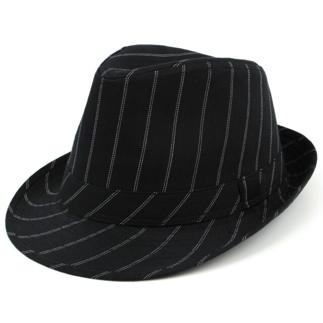 12e6f338b34e4 Trilby Hat Pinstripe Fedora Panama Black Suit Ska Mens Formal New Cap Man