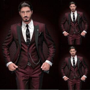 03480575981 Wine Red Men s 3 Piece Suit with Black Peak Lapel Slim Fit Tuxedos ...