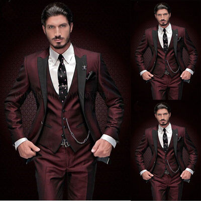Mens Suit Black Peak Lapel Tuxedos Slim Fit Formal 3piece Party Wedding Business Clothing Shoes Accessories Men S Formal Occasion