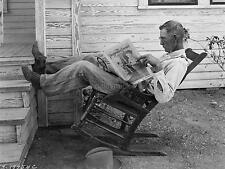 Farmer On Rocking Chair Coryell County Texas USA 1931 7x5 Inch Reprint Photo