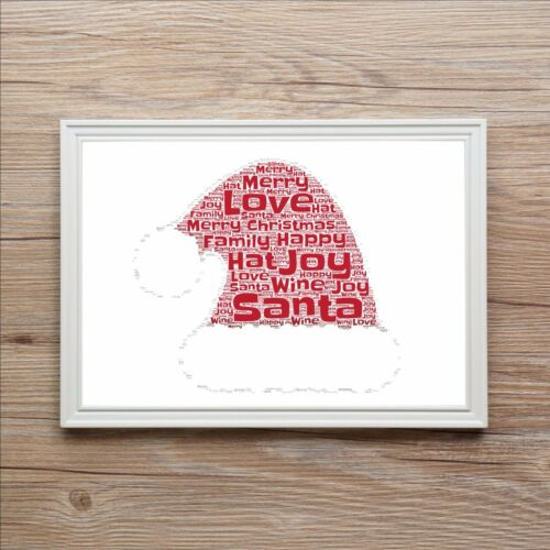 Personalised 1st Christmas Family Word Art Print Gift Ideal Secret Santa Hat