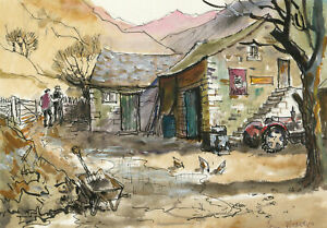 Brian Weaver - Bristol Savages 2016 Pen and Ink Drawing, Farm in the Mountains