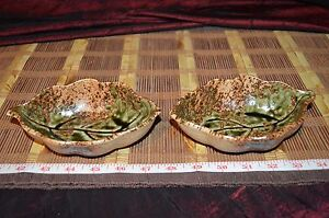 Two-Handmade-Pottery-Leaf-Bowls-Handcrafted-Clay-6-3-8-034-x4-034