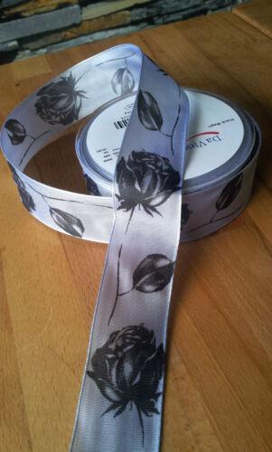 3m trauerbinde trauerschleife Rose 40mm trauerband alambre negro banda de plata