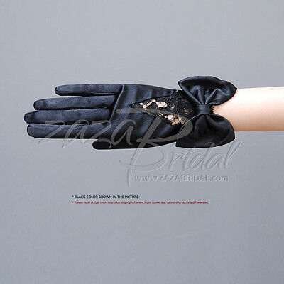 ELEGANT WOMEN'S SHINY SATIN GLOVES WITH FLOWER PATTERN LACE and BOW TRIM
