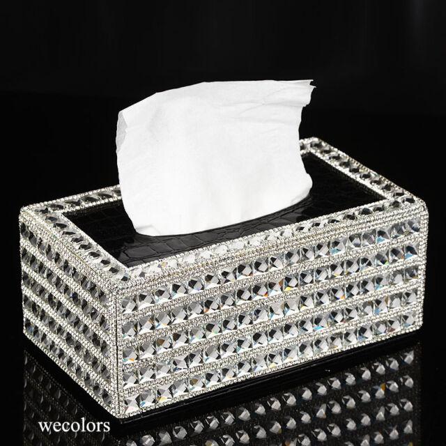 Super Bling Crystal Handmade Diamond Holder Home Decor Pu Leather Tissue Box