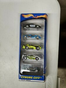 HOT WHEELS 5 CAR SET CYBORG CITY FROM 2000 Vintage 5 pack gift set (dd) (a311)