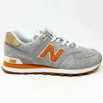 New Balance 574 Classics Grey Orange Mens Running Sneakers ...