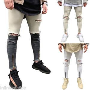 Hommes-Delave-Jean-Dechire-Noir-Pantalon-Jeans-Coupe-Slim-Pantalon-UK