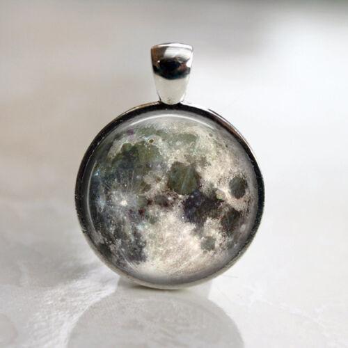 Luna llena espacio lunar Imagen Collar Colgante y cadena de 24in De Plata Antigua