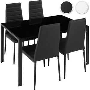 Detalles de Conjunto de mesas y 4 sillas de comedor cocina tapicería sala  de estar en
