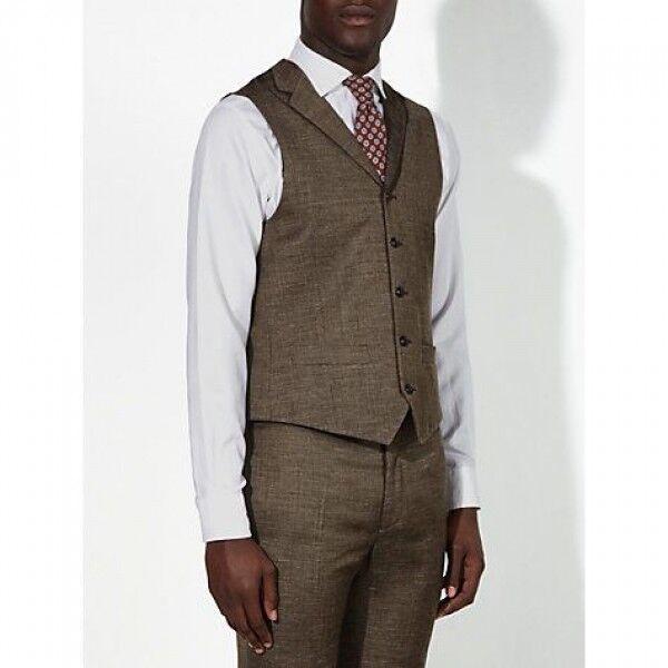JOHN LEWIS - NEW - Cadogan Semi Plain Weave braun Waistcoat Chest 40 Regular   Stil