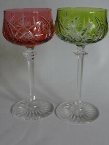 2 Anciens Verres A Vin Roemer Cristal De Val St Lambert Fantaisie 18 Cm