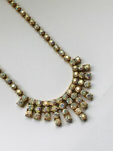 Vintage Diamante Diamond Paste Aurora Borealis Effect Necklace