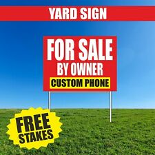For Sale Yard Sign Advertising Owner Custom Phone Real Estate 18x24 Free Stake