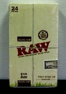 Raw-Organic-1-1-4-Rolling-Paper-Box-Of-24-50-leaves-per-pack-Sealed-SALE