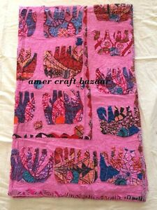 Novel Designs Humorous Indian Kantha Throw Floral Print Vintage Quilt Reversible Bedspread Cotton Gudri Famous For Selected Materials Delightful Colors And Exquisite Workmanship