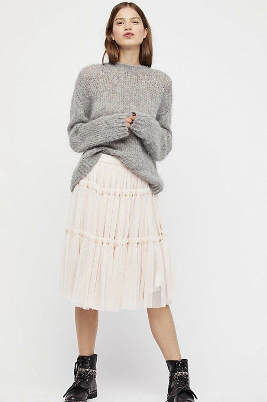 NEW Free People KAS Pink Tutu Tiered Tulle Midi Skirt Size Small