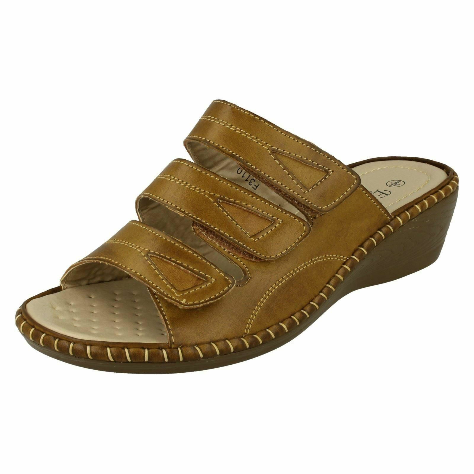 EAZE Closing F3110 Ladies Tan Riptape Closing EAZE Mule Sandal bd9587