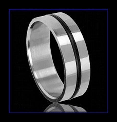 Bague alliance ACIER homme 1 anneau en silicone bijoux fantaisie neuf femme