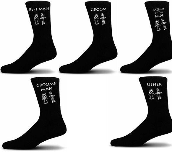Black Luxury Cotton Rich Bride & Groom Figure Wedding Socks, Groom, Best Man