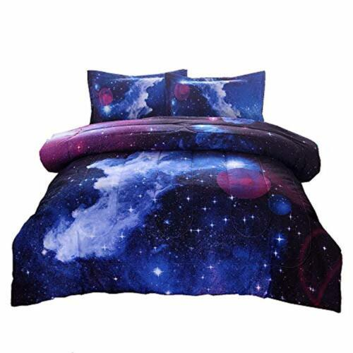 Comforter Set Full Size W// 2 Matching Pillows Hypoallergenic Galaxy Bedding Sets
