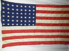 Vintage WW2 WWII Parade Flag 48 Stars 32 x 57 Inches Naturally Toned