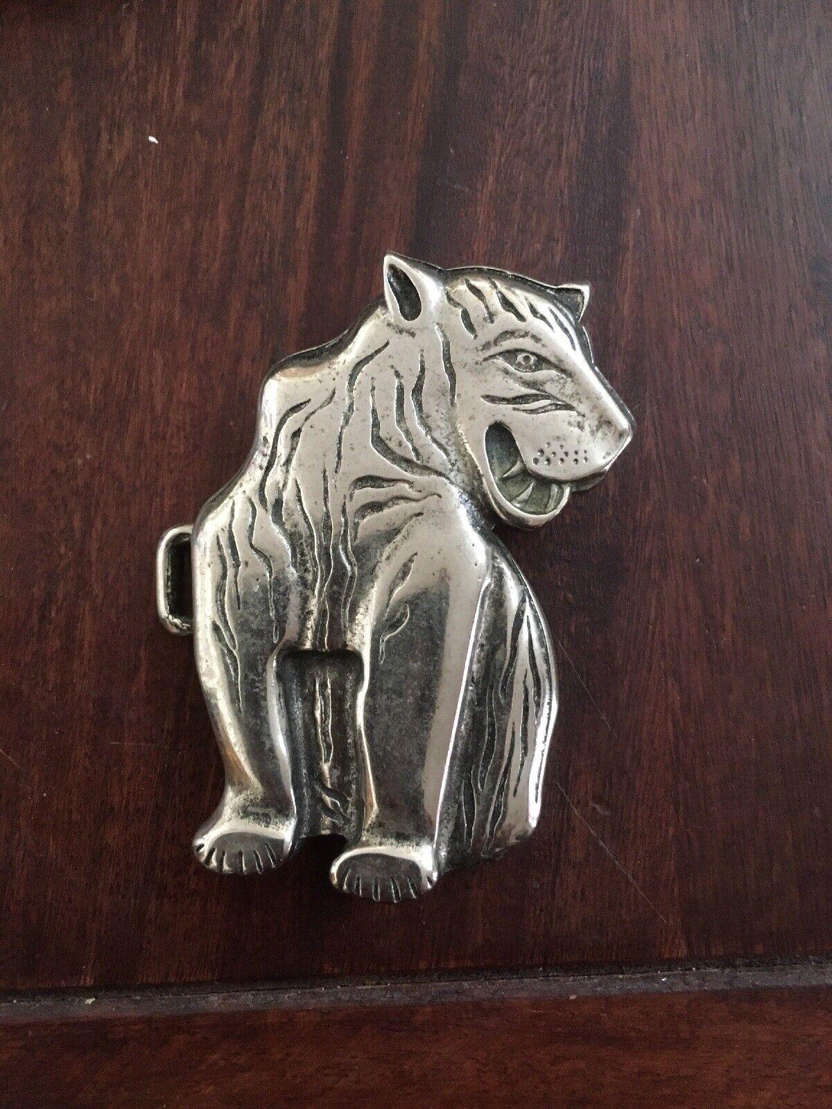 Gürtelschnalle Tiger Katze Silber Schnalle Gürtel