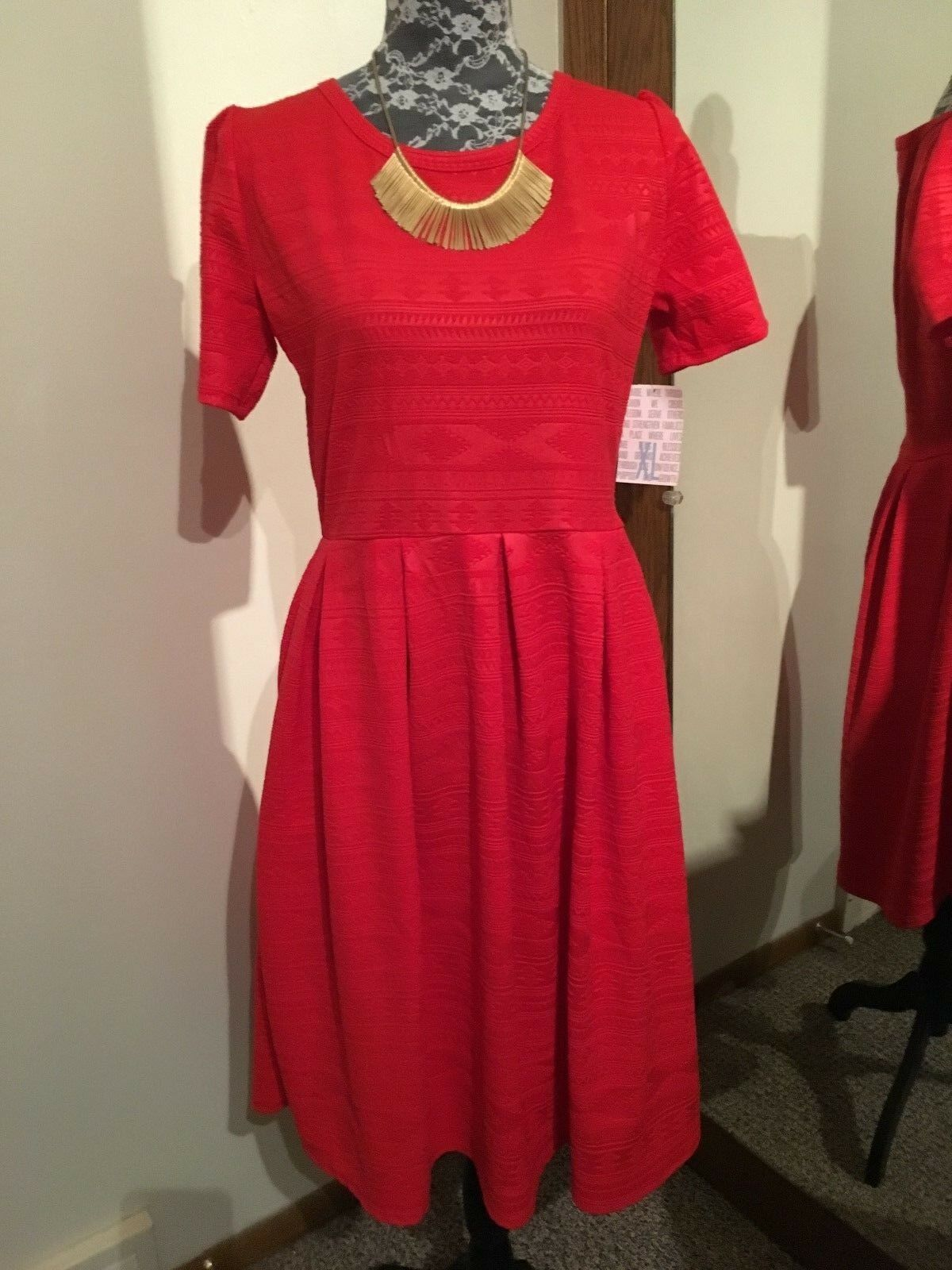 LulaRoe Red XL Amelia BNWT HTF Unicorn Party Dress